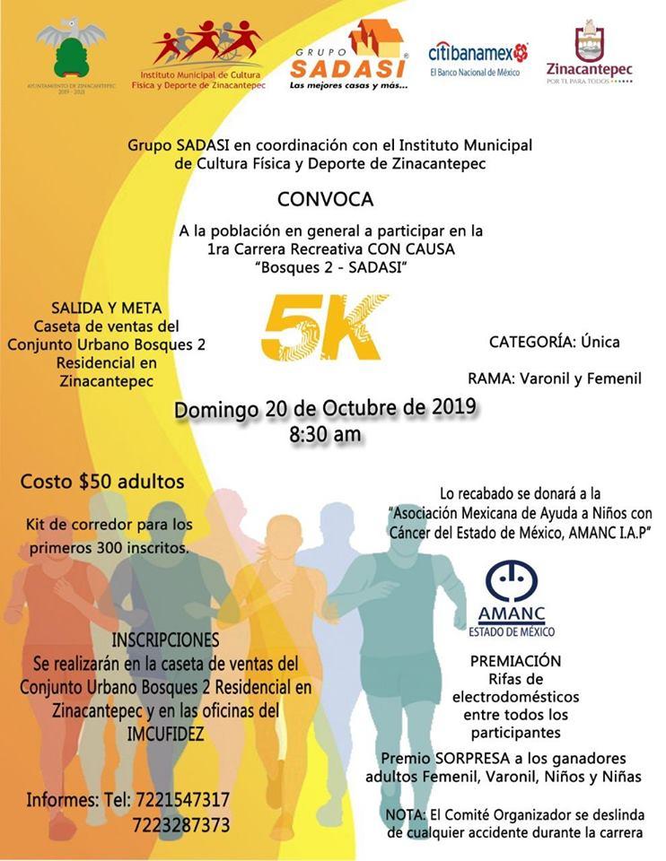 "Presentan la primera Carrera Recreativa CON CAUSA ""Bosque 2-SADASI 5K"" - Oct 14, 2019"