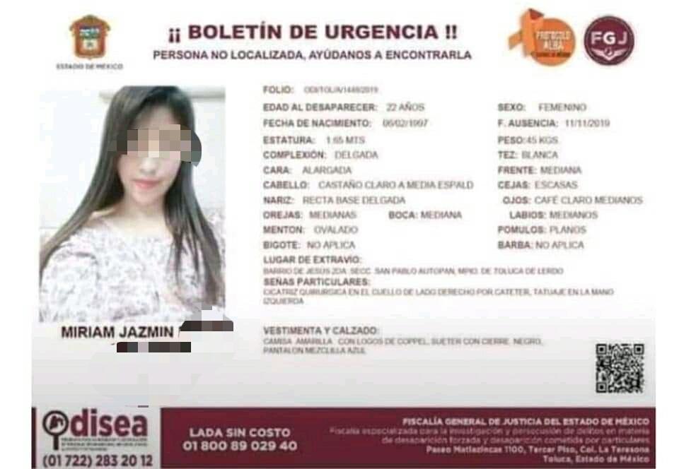 Hallan sin vida a joven desaparecida en San Carlos Autopan - Nov 12, 2019