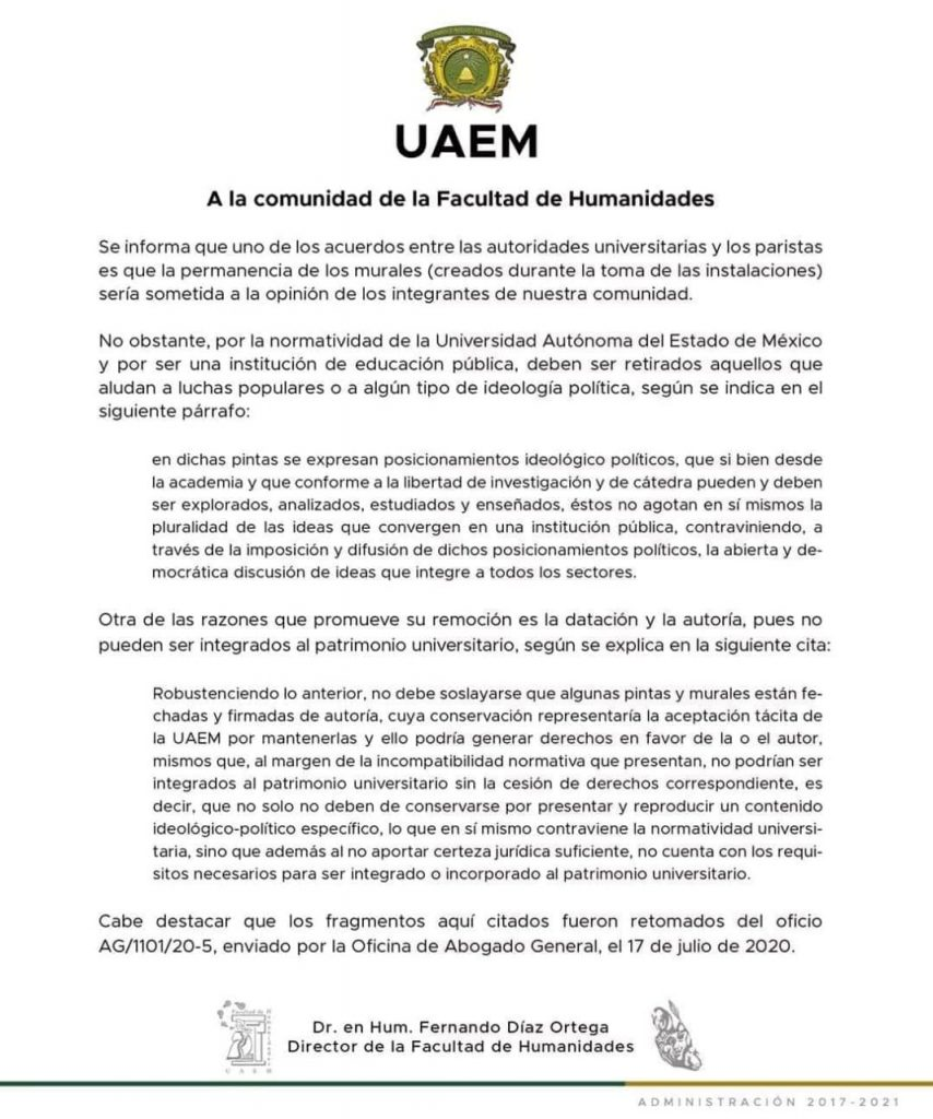 Retirará UAEMéx murales realizados durante paro en la Facultad de Humanidades - Jul 21, 2020