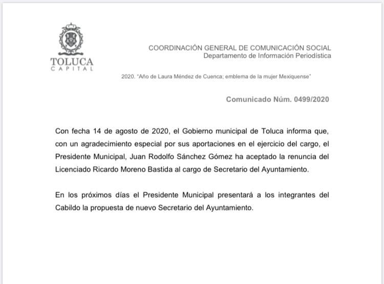 Renuncia Ricardo Moreno Bastida a la Secretaría del Ayuntamiento - Ago 14, 2020