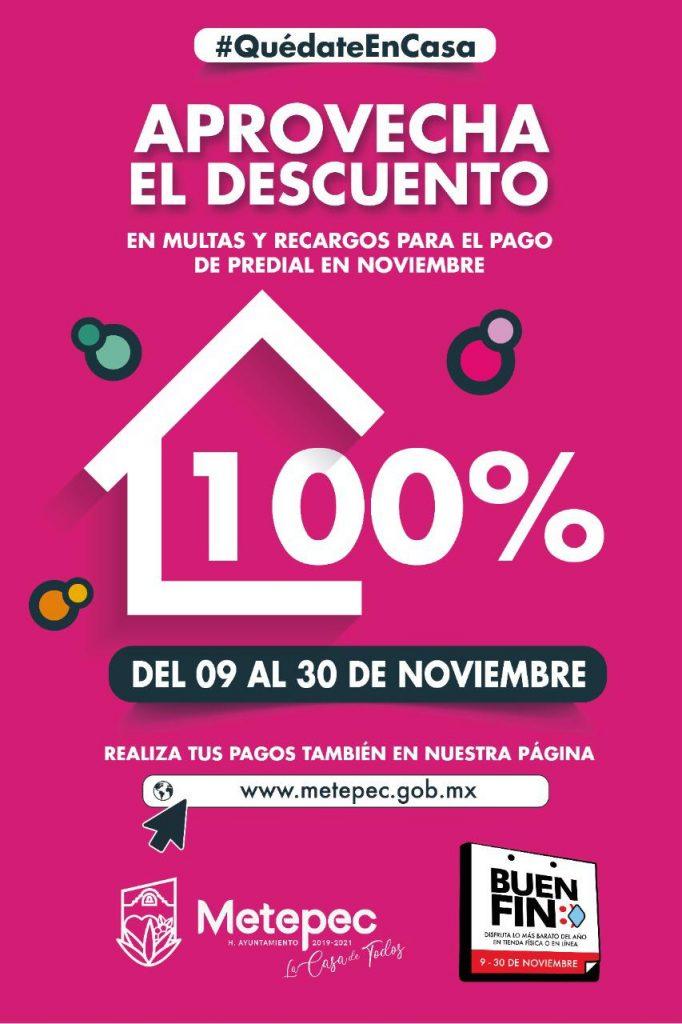 Ofrece Metepec descuentos por el Buen Fin en pago de agua y predial - Nov 15, 2020