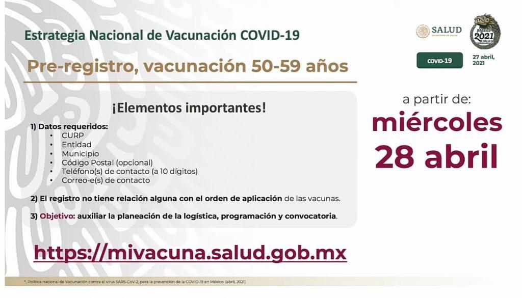 En mayo inicia vacunación de personas de 50 a 59 años - Abr 27, 2021