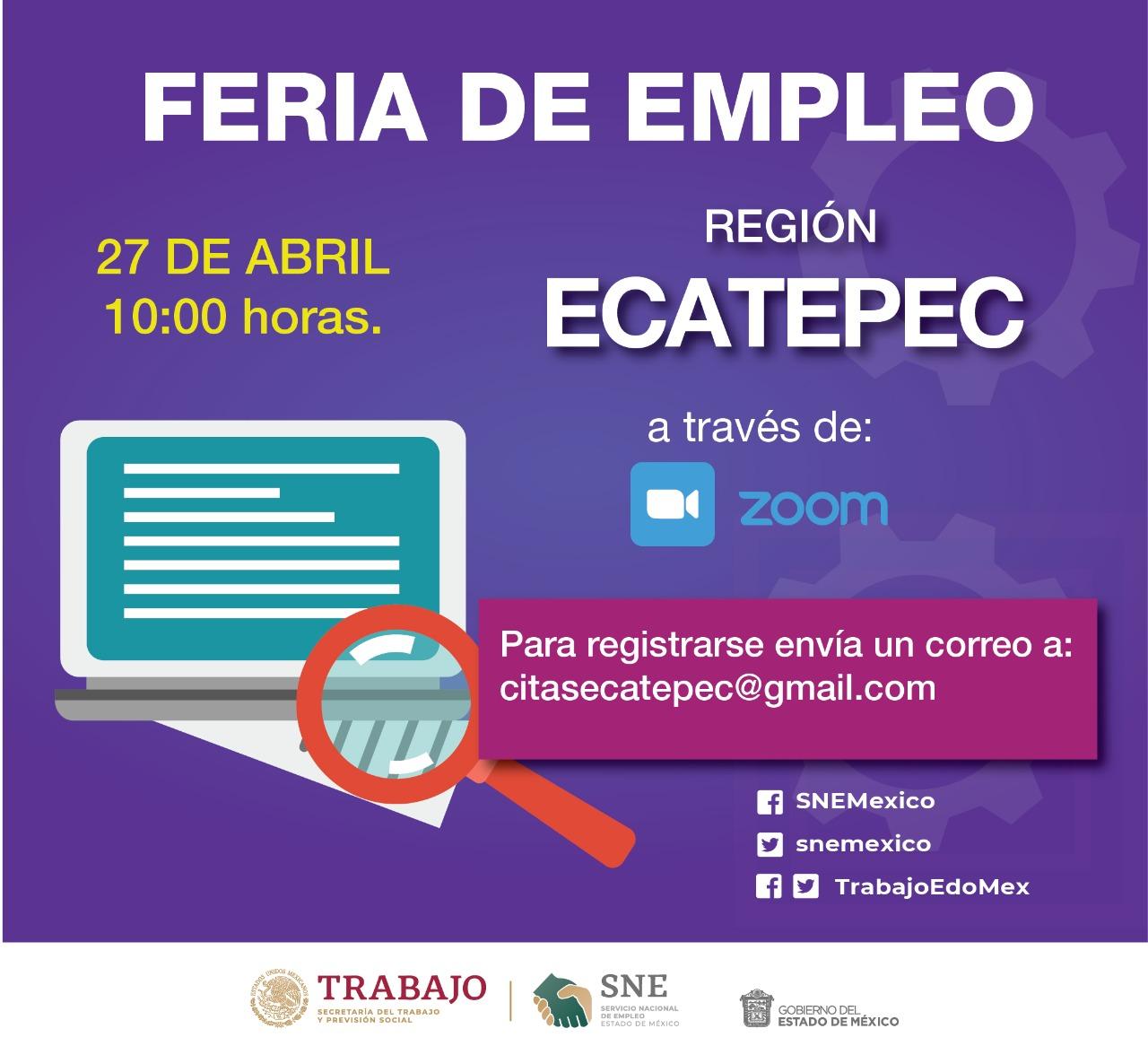Realizarán nueve ferias de empleo virtuales en Edomex - Abr 7, 2021