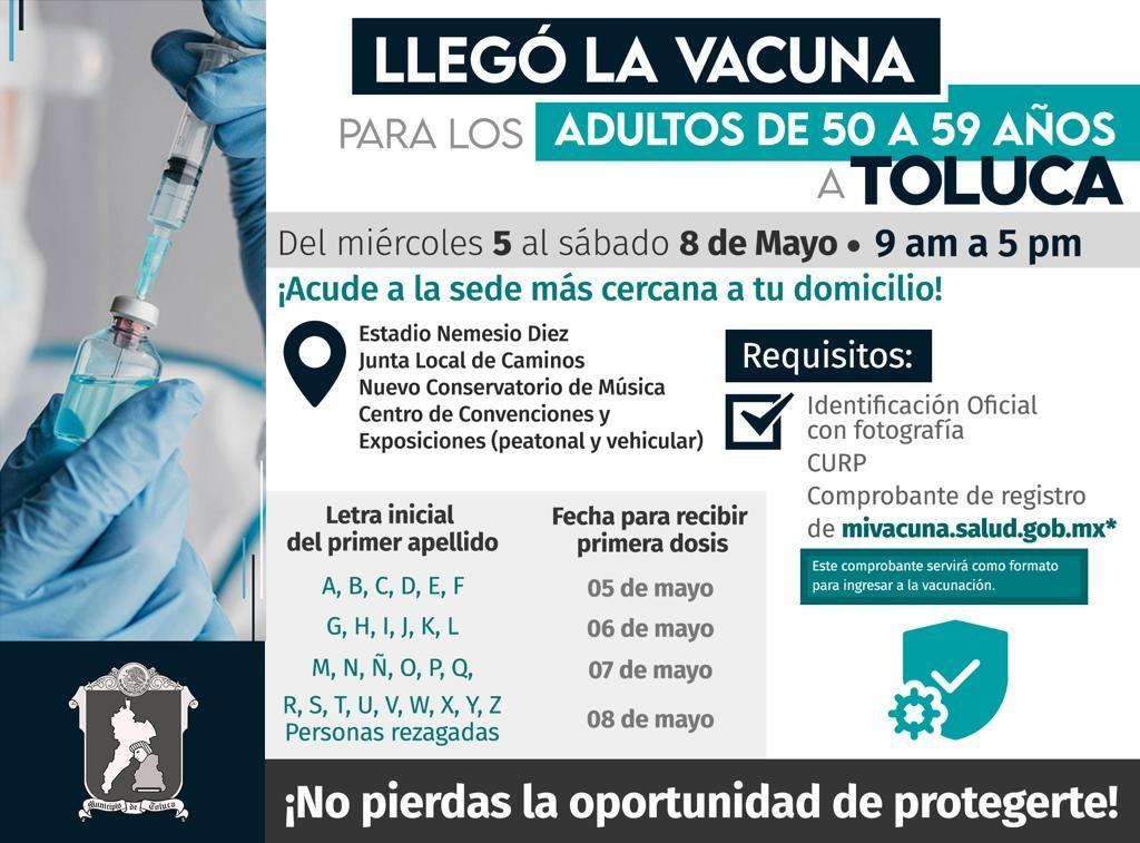 En Toluca, la aplicación de la vacuna contra Covid será por orden alfabético - May 2, 2021