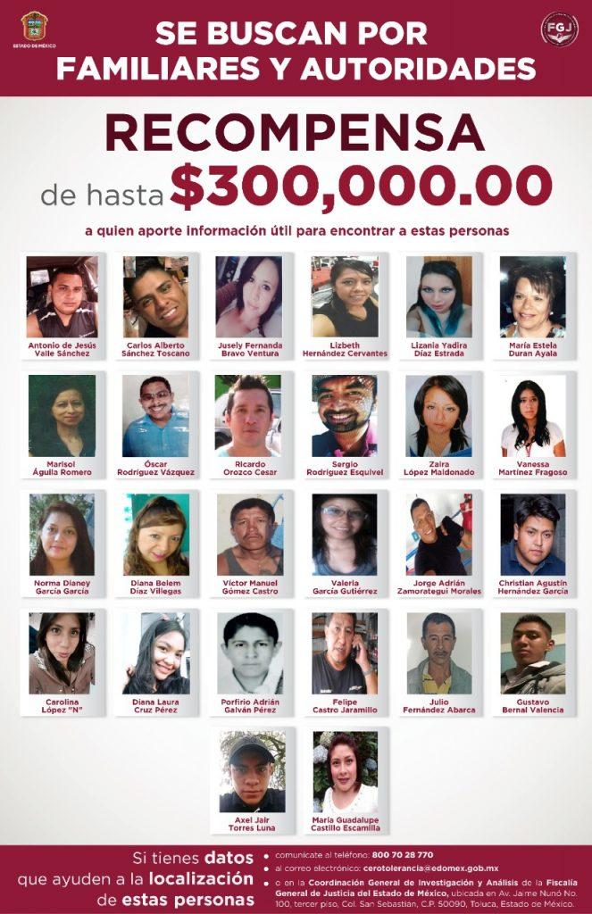 Ofrece FGJEM recompensa de 300 mil pesos para localizar a 26 desaparecidos - Jun 1, 2021