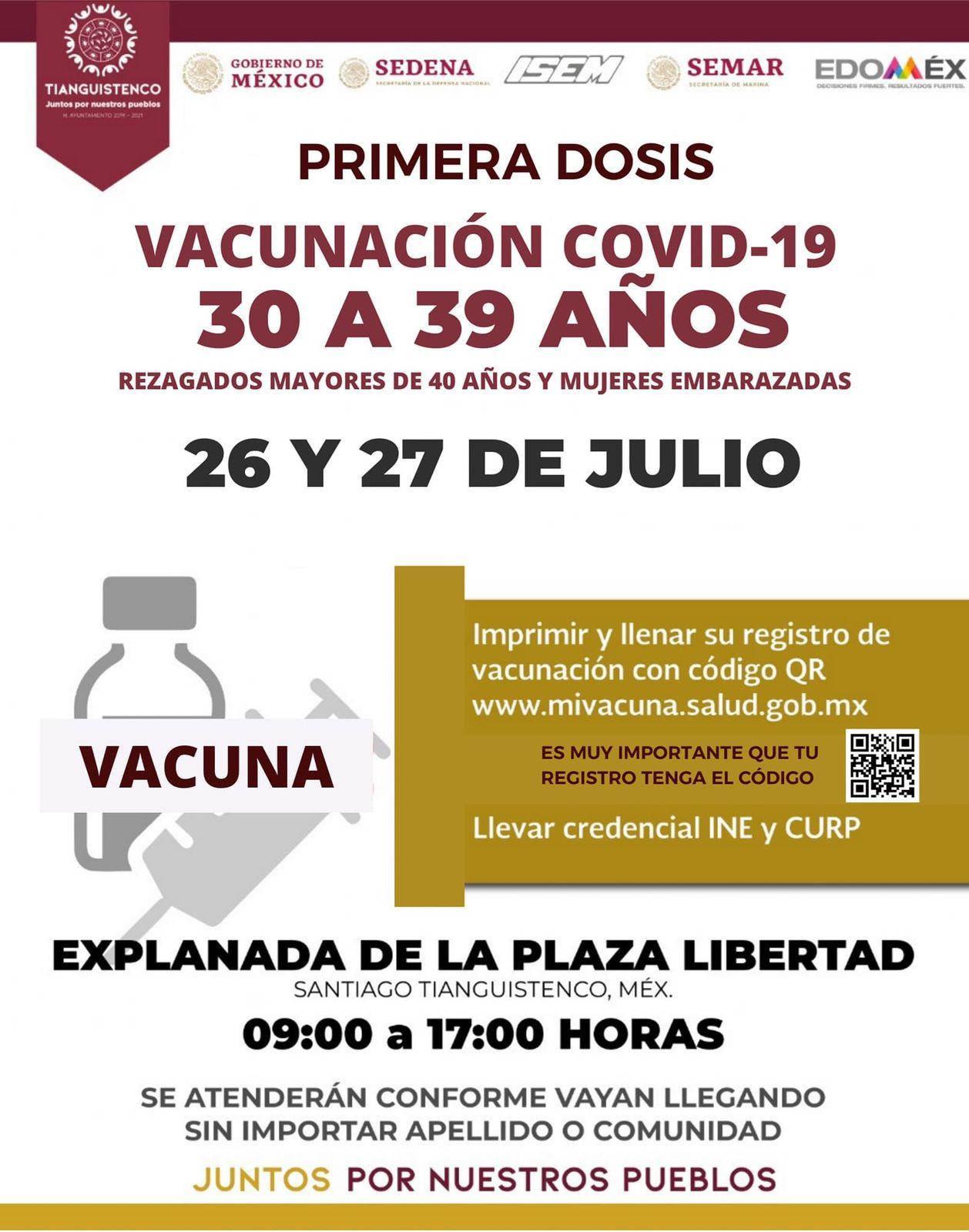 Vacunación anti Covid-19 a personas a partir de 30 en Santiago Tianguistenco - Jul 21, 2021
