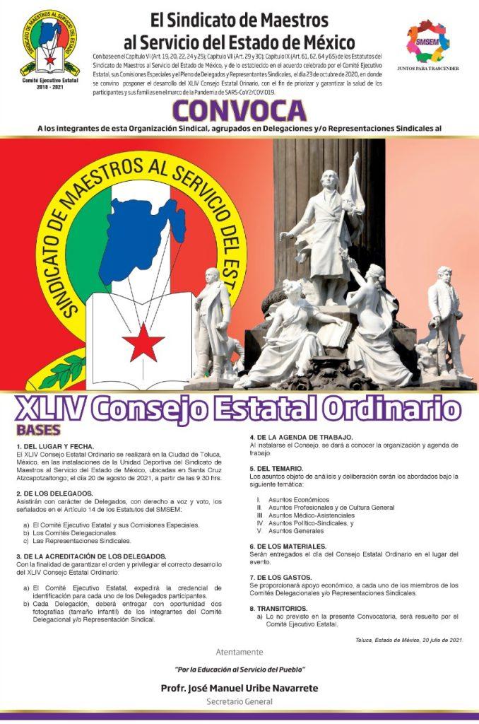 Convoca SMSEM a sus delegados al XLIV Consejo Estatal Ordinario - Jul 22, 2021