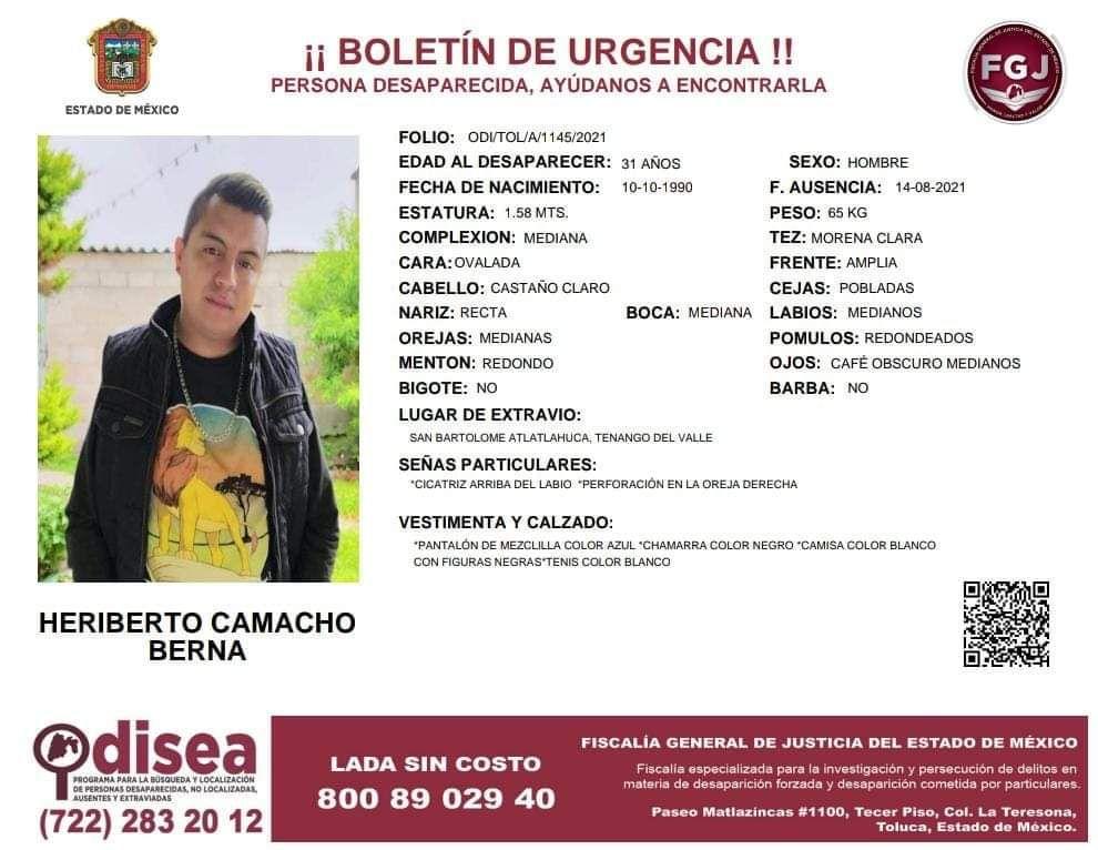 Desaparece mototaxista de Tenango del Valle - Ago 22, 2021